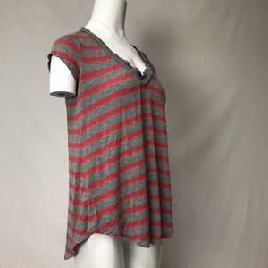H by Bordeaux grey and burnt orange striped top